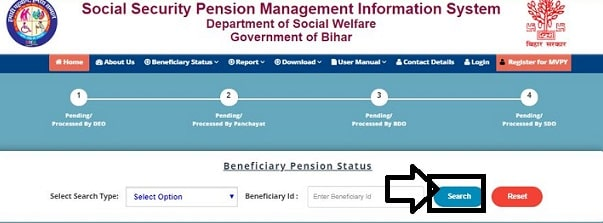 Mukhyamantri Bihar Vridhjan Pension Yojana  status