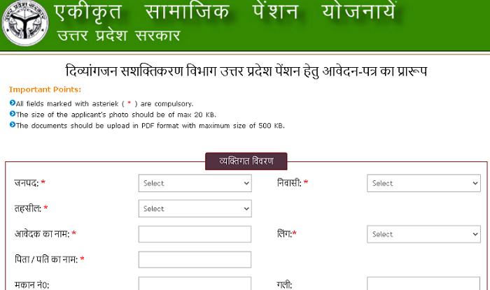 UP Viklang Pension Yojana Application Form 2020 In Hindi